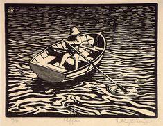 1924. L. Roy DAVIES, Ripples. wood engraving. Australia