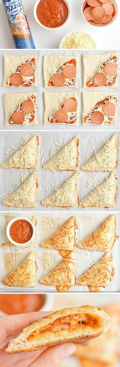 Homemade Easy Cheesy Pizza Pockets These easy cheesy homemade pizza pockets are SO EASY and they taste amazing! - These easy cheesy homemade pizza pockets Appetizer Recipes, Snack Recipes, Cooking Recipes, Pizza Recipes, Cheesy Recipes, Dinner Recipes, Cooking Eggs, Healthy Recipes, Kid Cooking