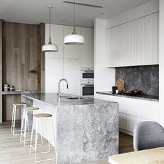 LOVE this kitchen, timber, grey, white, charcoal = ❤️ I'm specifying a lot of v-groove in joinery at the moment. It has a traditionally coastal feel but am seeing it more and more in contemporary spaces, like this stunning kitchen I stumbled across on Pinterest today. How divine are these finishes? Not sure what that stone is but looks a lot like 'Super White' which is a quartzite that is becoming the go to stone for those wanting a natural marble without the maintenance, as it is a hardier…