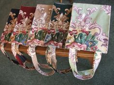 Set of Five Large Tote Bags  Colorful Florals  by LandFallFarm, $65.00