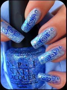 Water Marble Nail Art...I can never get water marbling to work, but I still think this is pretty.