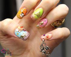 Fantasy Nails With A Dragon Charm Nail Piercing