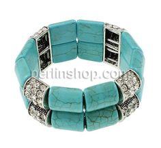 Mode Türkis Armband, Synthetische Türkis, mit Zinklegierung, antik silberfarben plattiert, mit Strass, 13x28x8mm, Länge:ca. 7.5 Inch, perlinshop.com