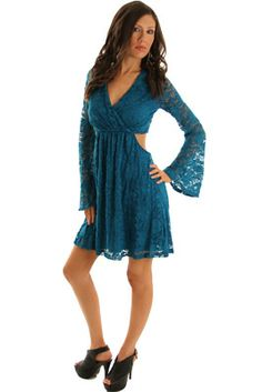 e4760a52a0d Teal Sexy Lace Cut Out Long Sleeve Dress at DHStyles Women s Online  Shopping Super Store with Discount and Cheap Prices.