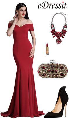 [USD 149.99] eDressit Burgundy Off Shoulder Mermaid Formal Prom Dress (00165217)