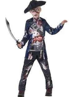 Maatuva merirosvo. Maatuvan merirosvon paita on yksityskohtaisesti kuvioitu ja asukokonaisuus on muutenkin tyylikkään kammottava. Asussa on Halloweeniin sopivaa zombieteemaa.