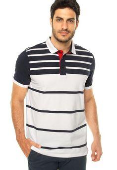 Camisa Polo Pacific Blue Tradicional Branca - Marca Pacific Blue Camisa Polo, Mens Polo T Shirts, Polo Shirt, Boy Fashion, Mens Fashion, Fashion Outfits, Polo Club, Pacific Blue, Lacoste