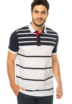 fe2f5c4ac Camisa Polo Pacific Blue Tradicional Branca