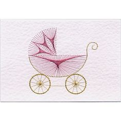Pram pattern at Stitching Cards. Embroidery Cards, Embroidery Patterns, Card Patterns, Stitch Patterns, Doily Patterns, Dress Patterns, Cute Sewing Projects, Origami Paper Art, Sewing Cards