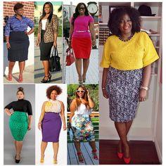 """""""Saia Lápis""""  Mulheres mais cheinha também podem,sim usar saia lápis. Basta prestarem atenção em detalhes fundamentais, como tons mais fechados,padronagens escuras e discretas, tecidos firmes e lingerie de contenção.Outra sugestão? Looks em tons próximos, que alongam e estreitam o corpo.#look#looks#modaparagordinha #modablack #modanegra #fashion #fashionista #negasdopoder#negaslindas #negashow #estilodepreta"""