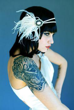 Photography by Heather Romney | Flapper Headband - Rhinestone & Peal from dananionline.com #tattoo