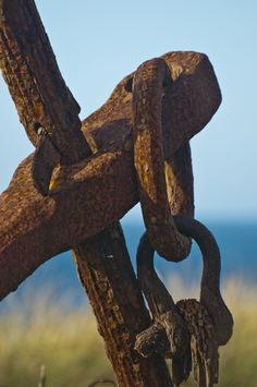 A photograph of an old rusted anchor lying along the Oregon Coast. To purchase please go to http://memoriesoflove.imagekind.com/