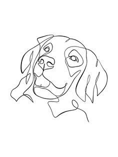 Dog Line Drawing, Line Drawing Tattoos, Dog Line Art, Cat Drawing, Dog Outline, Golden Retriever Art, Custom Dog Portraits, Dog Tattoos, Animal Drawings