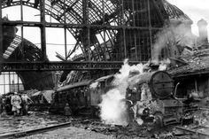 How boy survived bombing of Middlesbrough Railway Station - Middlesbrough Railway Station five minutes after bombing Middlesbrough England, Berlin, Stockton On Tees, British Rail, British Isles, Old Train Station, Disused Stations, Steam Railway, 10 Year Old Boy