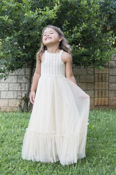 9d49b0198 Boho Flower Girl Dress. Flowergirl Maxi Dress with crochet | Etsy Flower  Girl Dresses Boho