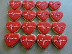 MIni EKG Heartbeat Hearts Cookies - Great for your Sweetheart- or an add on to another cookie item ( Cookie Tray, Cookie Icing, Royal Icing Cookies, Sugar Cookies, Cookies Et Biscuits, Chocolate Butter, Chocolate Icing, Chocolate Cookies, Mini Cookies
