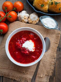 Ukrainian Red Borscht Recipe by YourNextDish Easy Dinner Recipes, Soup Recipes, Cooking Recipes, Borscht Recipe, Russian Recipes, Tasty Dishes, Love Food, Food Photography, Food Porn