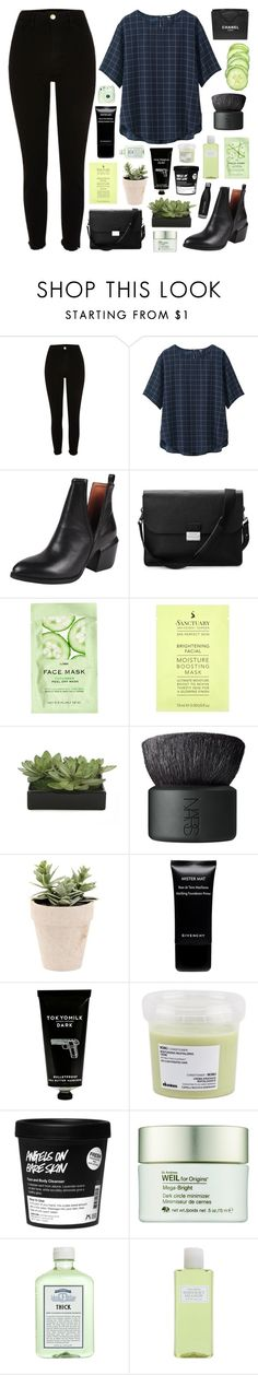 """""""FRESH OF THE BOAT"""" by paradiselemonade ❤ liked on Polyvore featuring Uniqlo, Jeffrey Campbell, Aspinal of London, Chanel, H&M, Lux-Art Silks, NARS Cosmetics, Givenchy, TokyoMilk and Davines"""