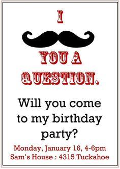 Mustache Party Invitations