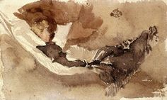 James Abbott McNeill Whistler (1834-1903) Maud Reading in a Hammock (1880) watercolour, 13.65 x 22.86 cm