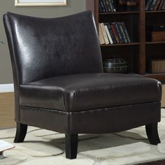 Dark Brown Leather-look Accent Chair - transitional - Chairs - Modern Furniture Warehouse