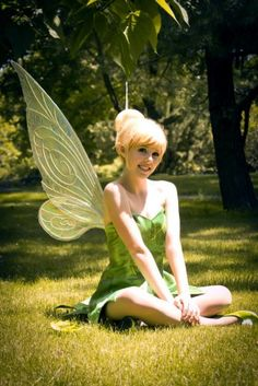 My 4 year-old daughter is going to believe Tinkerbell exists as soon as I show her this post!    This is the perfect model and costume to host a Tinkerbell birthday party... although, she might have a problem when the little fairies start asking her to fly :)
