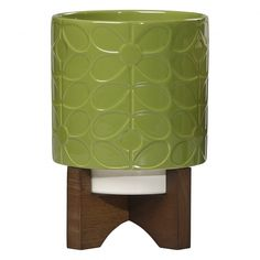 Orla Kiely House 60s Stem Ceramic Plant Pot with Wooden Stand - Leaf