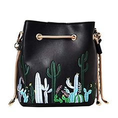 df8b7645a53f Felice Womens Faux Leather Drawstring Bucket Handbags Cute Mini Cactus  Embroidery Satchel Purse (black)