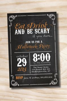 EAT DRINK and be SCARY Halloween Party Invitation  Printable
