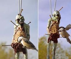 Zombie Bird Feeder - I can see this done with a gutted baby doll as well.  Peanut butter or suet mixed with birdseed packed into the opened belly