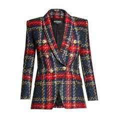 Balmain Double-breasted tweed blazer (€1.940) ❤ liked on Polyvore featuring outerwear, jackets, blazers, blue tweed blazer, plaid blazers, blue plaid blazer, tweed jacket and double breasted blazer