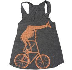 Fixed Gear Mutant Bicycle Riding Giraffe Tank Top - Bike Shirt. $21.00, via Etsy.