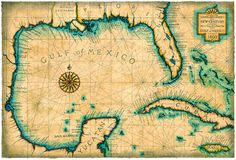 Gulf and Caribbean Map Art c. 1800 Old Maps Cuba for Diner
