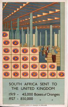Guy Kortright - Landing Boxes of Oranges in England - Empire Marketing Board Manchester Art, City Gallery, Art Costume, Africa Travel, Travel Posters, Booklet, South Africa, Art Decor, Empire