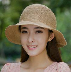 Linen bow bucket hat for women summer packable sun hat