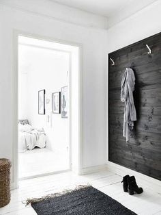 black-washed wood accent wall.
