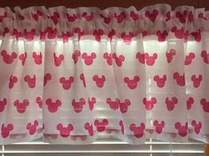 """Minnie Mouse Ears~ Pink and White Window Valance ~ 65"""" Wide by CheriesSewCrafty on Etsy"""