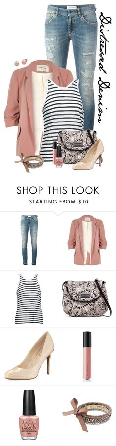 """""""Blazer and Distressed Jeans"""" by chrissykp ❤ liked on Polyvore featuring Faith Connexion, River Island, T By Alexander Wang, Marc by Marc Jacobs, Circus by Sam Edelman, Bare Escentuals, OPI, Simply Vera, Honora and stripes"""