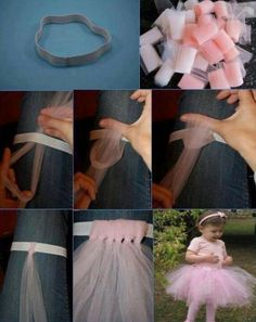 Easy, no-sew tutu for dress-up and play. Tutu made from strips of tulle that is tied!