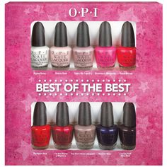 OPI Best of the Best Mini Collection - Alpine Snow, Bubble Bath, Tickle My France-y, Strawberry Magarita, Cajun Shrimp, Big Apple Red, I'm Not Really a Waitress, You Don't Know Jacques!, Russian Navy, and Lincoln Park After Dark.