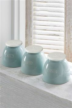 Buy Teal Love Storage Jars Set Of 3 from the Next UK online shop Storage Jars, Kitchen Storage, Kitchen Jars, Kids Prints, Metal Tins, Vintage Children, Family Room, Sweet Home, New Homes
