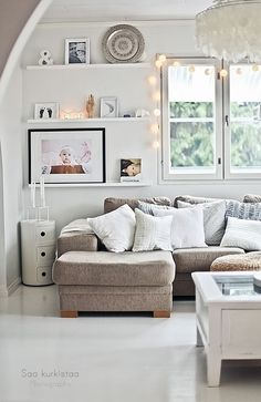 This living room is so serene with all of the soft, neutral colors. Interior design ideas, home decor. Dream home. Home Living Room, Apartment Living, Living Room Decor, Living Spaces, Cozy Apartment, Living Area, Living Room Inspiration, Home Decor Inspiration, Piece A Vivre