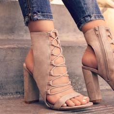 ideservenewshoesblog: Standout Look - Taupe Heels By Lolashoetique