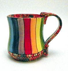 Ceramic Mug Rainbow Striped Roy G Biv Made to by JudyBFreeman, $25.00