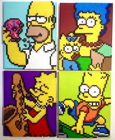 The Simpsons Portraits - Perler bead projects and patterns by Kyle McCoy Melty Bead Patterns, Hama Beads Patterns, Beading Patterns, Pixel Art Templates, Perler Bead Templates, Pearler Beads, Fuse Beads, The Simpsons, Futurama