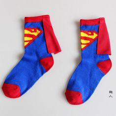 3 to 6 Years kids socks Superman batman flash cloak cotton socks in boys&girls tube socks children dancing cosplay party socks