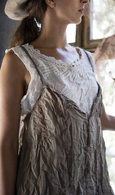Magnolia Pearl Official Web Store : Beautiful Wear....French Cotton Idee Cropped Tank with Hand Crocheted Yoke, Silk Drawstring, Antique Snaps $125.00