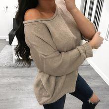 8935271378 Sexy Długim Rękawem Swetry Z Dzianiny Off Ramię Swetry Sweter Kobiety Slash  Neck Zimowe Ciepłe Bluzy