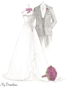 Dreamlines wedding dress sketch given as a wedding day gift to the bride, wedding gift, bridal shower gift and one year anniversary gift. http://www.mydreamlines.com #weddinggift #anniversarygift #weddinggiftfromgroom