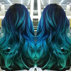 teal blue and blue hair color